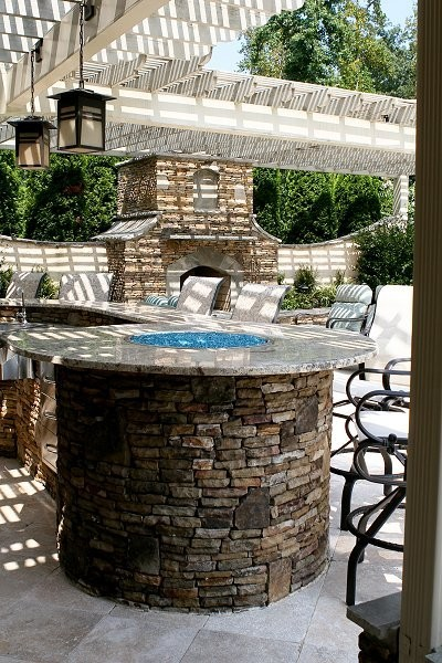 Outdoor Fireplace or Fire Pit traditional-patio