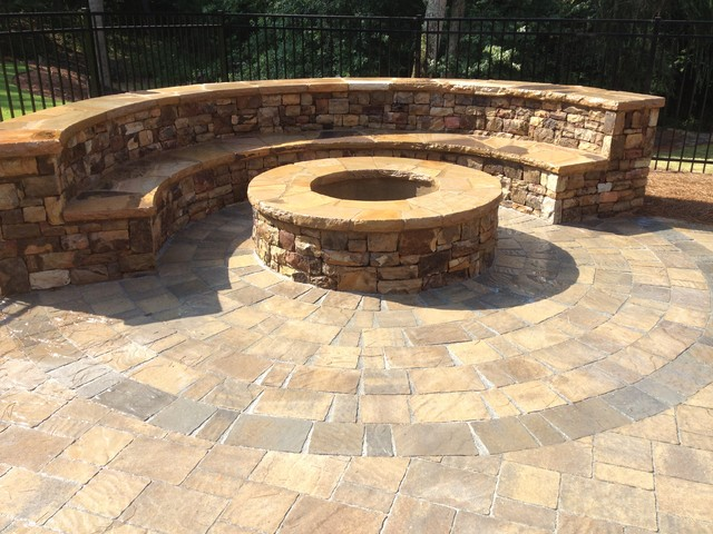 Outdoor Fireplace Or Fire Pit Traditional Patio