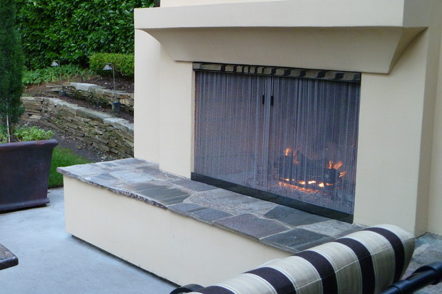 This project features our Ultra Black Stainless Steel on the fireplace frame and wire mesh. Ultra Black Stainless Steel is produced by an electrochemical