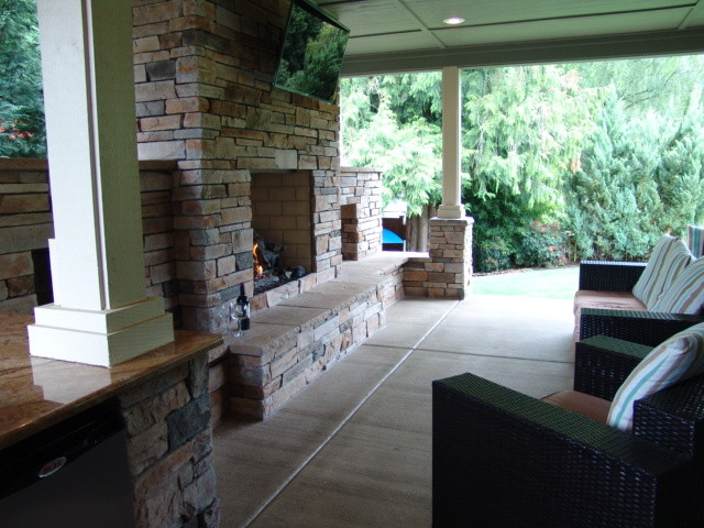 Outdoor Fireplace Under Covered Patio Image Collections