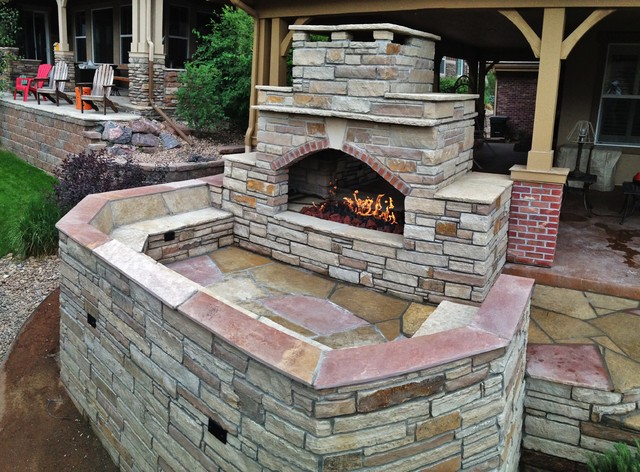Outdoor Fireplace Two Sided Rustic Patio Denver By Colorado Outdoor Living Design Sales