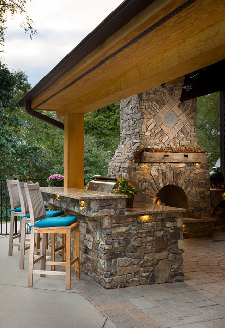 Outdoor Fireplace With Grill Island And Big Green Egg Rustic Patio