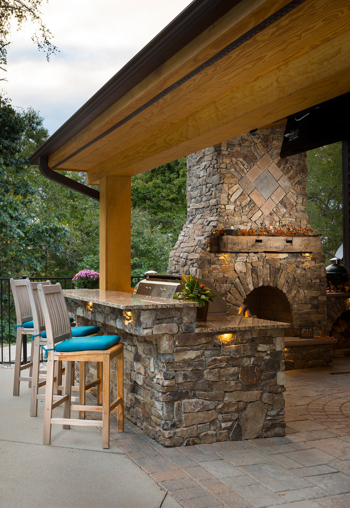 Outdoor Fireplace With Grill Island And Big Green Egg Rustic Patio Raleigh By Ayers Hardscapes Landscapes Llc