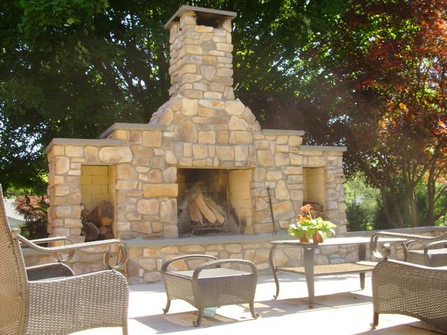 outdoor fireplace with veneer