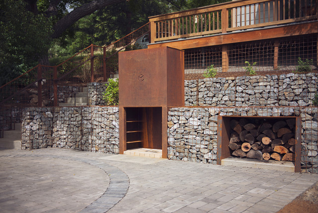 Outdoor Fireplace + Wood Storage - Modern - Patio - Other - by ...