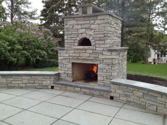 Outdoor Fondulac Stone Fireplace And Pizzatraditional Patio Minneapolis