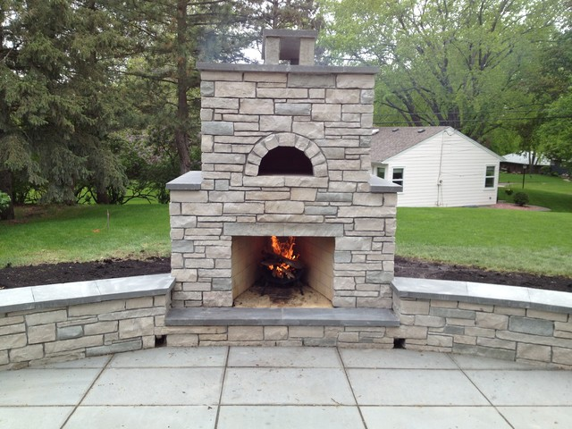 Outdoor fondulac stone fireplace and pizza oven in st for Patio fireplace plans
