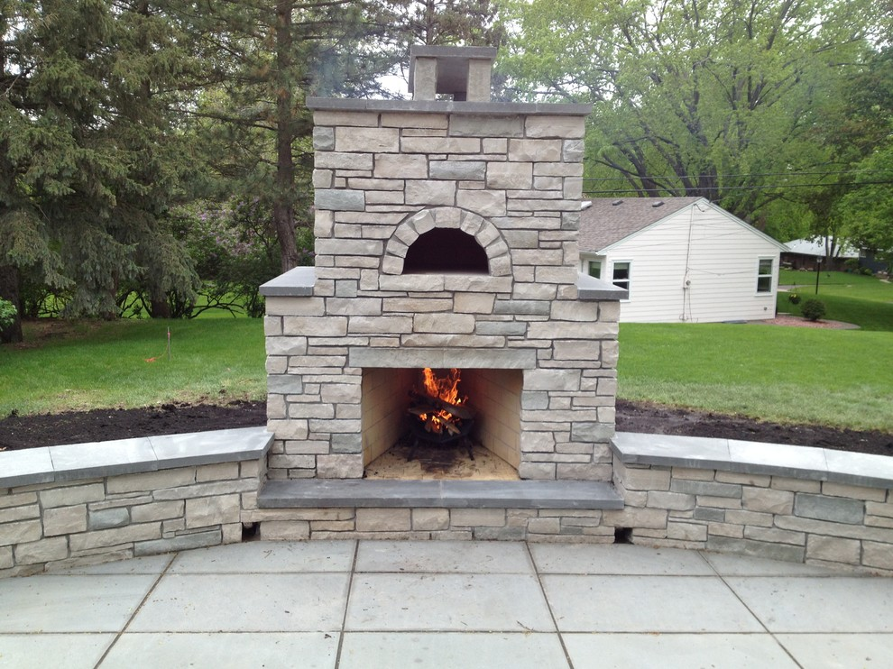 Outdoor Fondulac Stone Fireplace And Pizza Oven In St Louis Park Mn Traditional Patio Minneapolis By English Stone