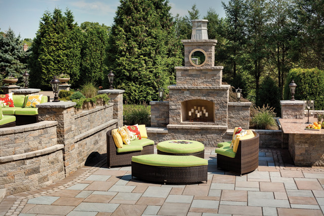 Outdoor Foyer Fire Place Traditional Patio Philadelphia By Techo Bloc