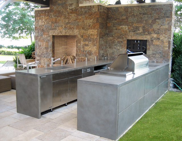 Outdoor Gray Custom Concrete Kitchen Countertops
