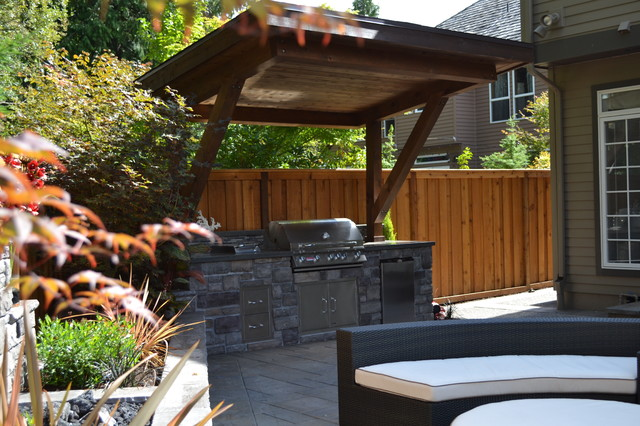 Outdoor kitchen traditional patio portland by all for Outdoor kitchen roof structures