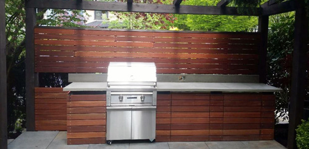 Outdoor Kitchen & BBQ Area - Batu Hardwood - Contemporary - Patio ...