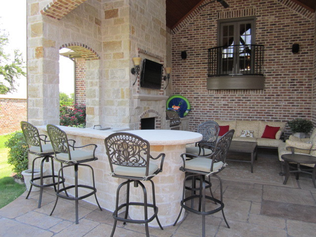 Outdoor kitchen and Fireplace mediterranean patio