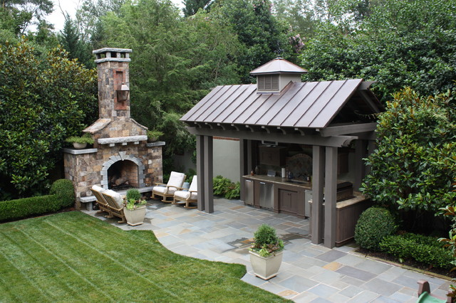 Outdoor Kitchen And Fireplace Traditional Patio