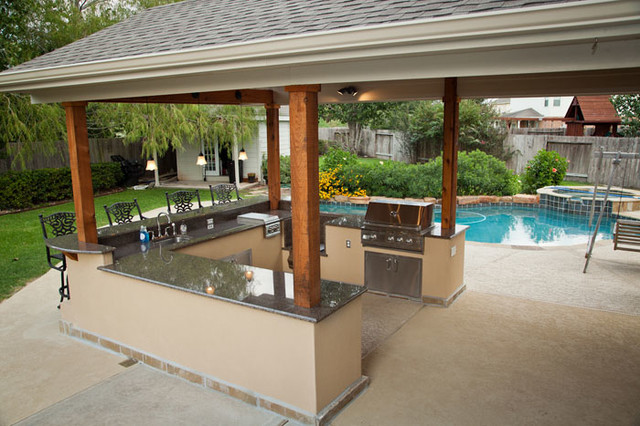 outdoor kitchen and patio cover in katy, tx - traditional - patio