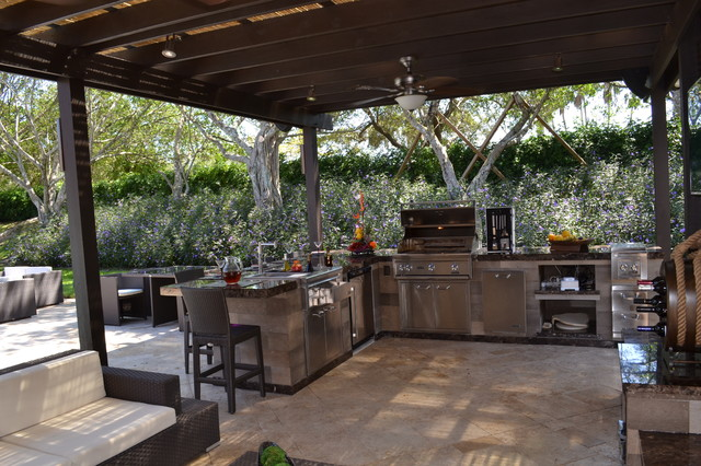 Outdoor Kitchen and pergola Project in South Florida traditional-patio