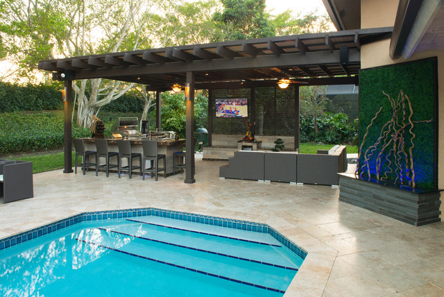 Outdoor kitchen and pergola project in south florida for South florida home designs