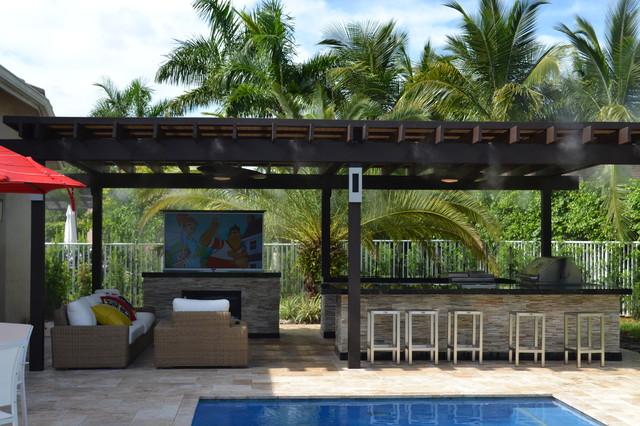 outdoor kitchen and pergola project mediterranean patio miami