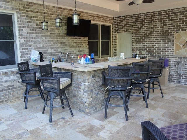 Backyard Kitchen And Bar : Outdoor Kitchen Bar and Grill  Traditional  Patio  atlanta  by