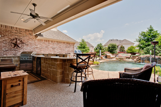 Outdoor kitchen bar area traditional patio dallas by dfw improved - Bar area in kitchen ...