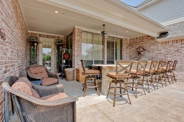Outdoor Kitchen Bar Area Rustic Patio Dallas By