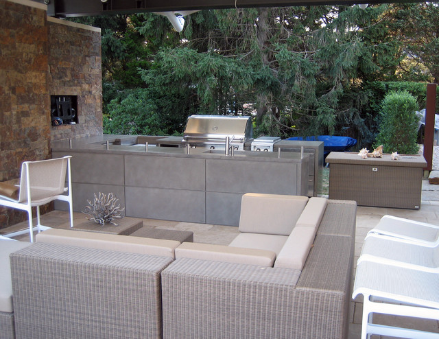 outdoor kitchen concrete countertops contemporary