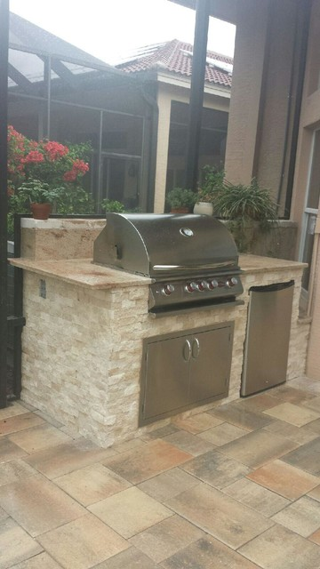 Outdoor Kitchen Design Ideas Transitional Patio Tampa By Outdoor Kitchen Pool Pavers Houzz Uk