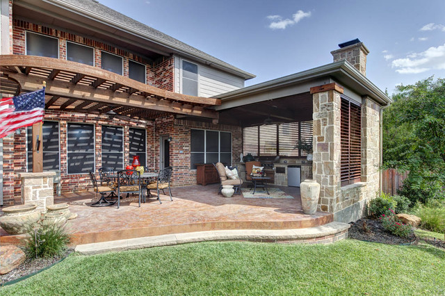 Outdoor Kitchen Fort Worth Traditional Patio Dallas By Weatherwell Elite Aluminum Shutters