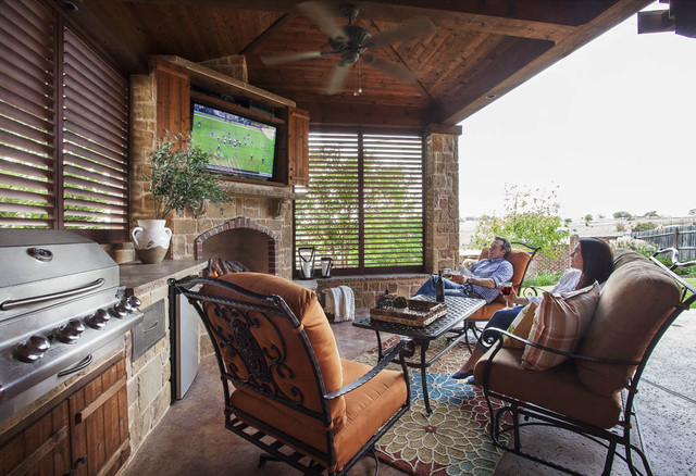 Outdoor Kitchen Fort Worth Rustic Patio Other Metro By Weatherwell Elite Aluminum Shutters