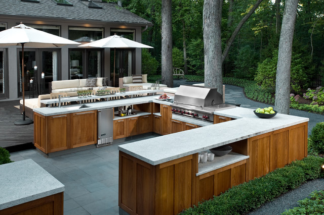 Example Of A Large Trendy Backyard Tile Patio Kitchen Design In Chicago