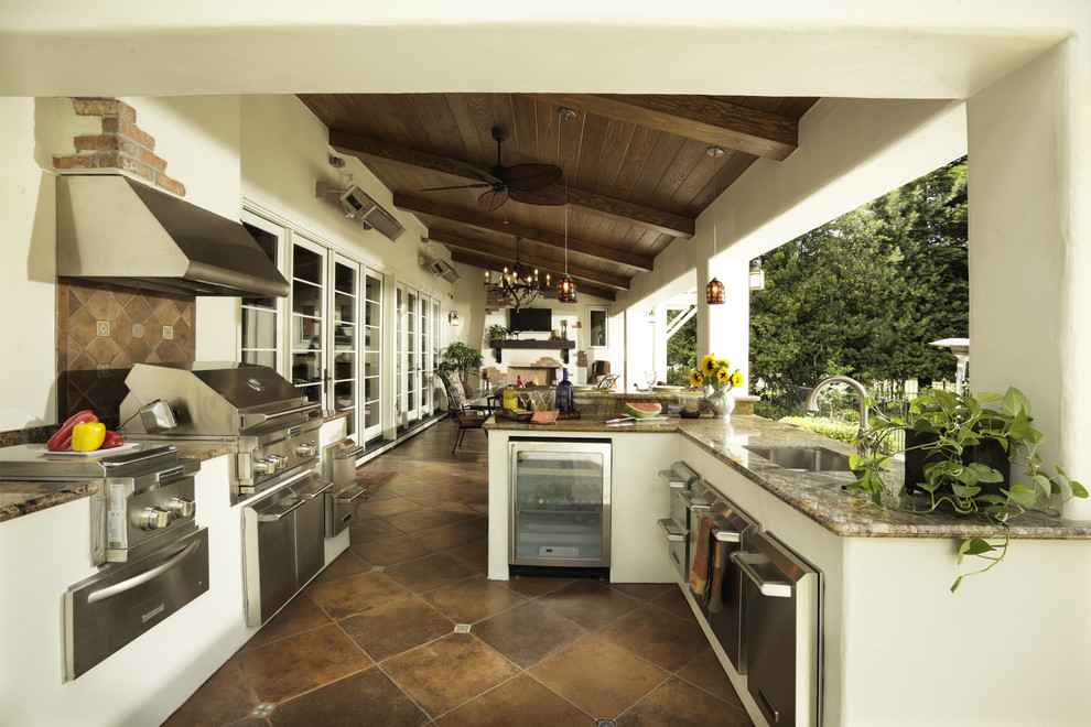 Tuscan patio kitchen photo in Sacramento