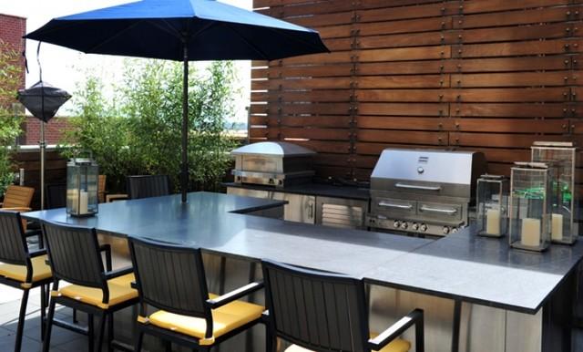 Outdoor Kitchen Manhattan Rooftop Contemporary Patio