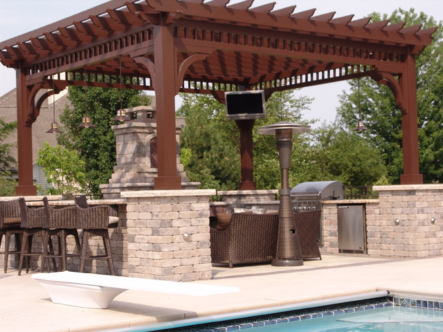 Outdoor Kitchen Pergola Tv And Sound Install Contemporary Patio