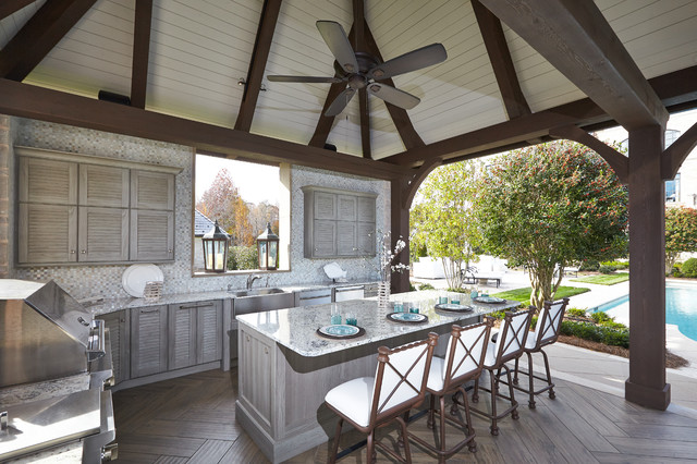Outdoor Kitchen Pool Cabana Traditional Patio Other Metro By Sr Design Group Inc