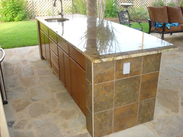 Outdoor Kitchen Tile Back Splash Bar Tile Granite