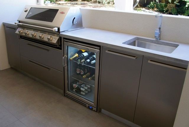 Outdoor Kitchen With A Polished Concrete Benchtop