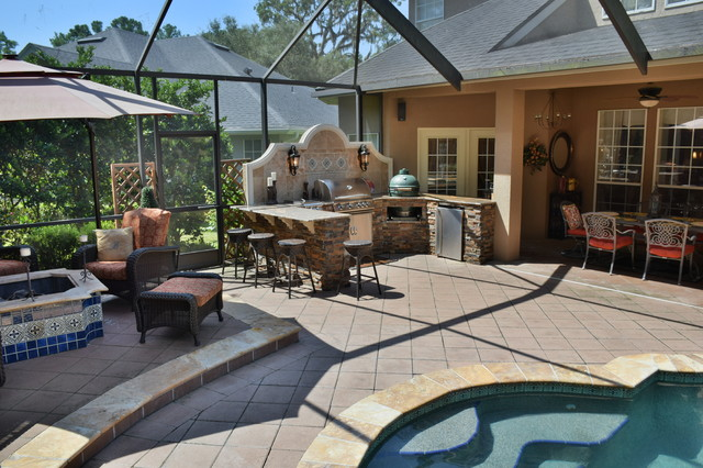 Outdoor Kitchen With Big Green Egg, Gas Grill And Bar Seating.  Transitional Patio