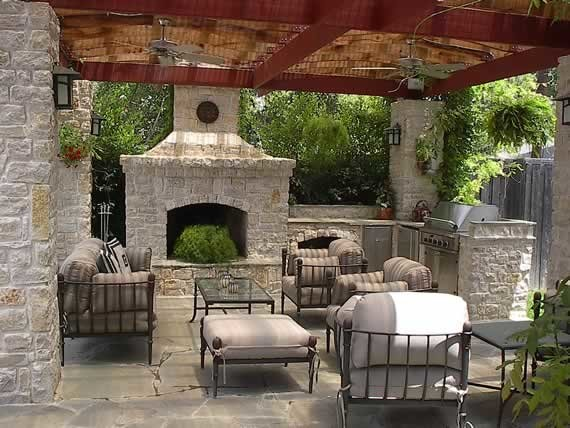 Outdoor Kitchen With Fire Pit And Furniture Traditional