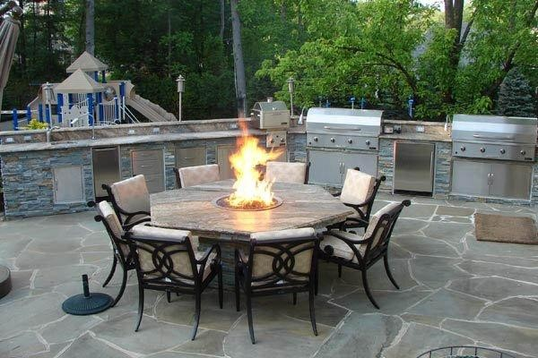 Outdoor Kitchen With Fire Pit Tabletraditional Patio Dc Metro