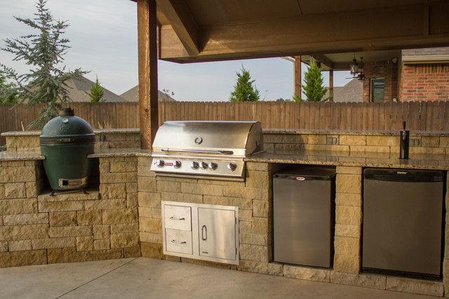 Kitchen Island Kegerator outdoor kitchen with grill, green egg, and kegerator - patio