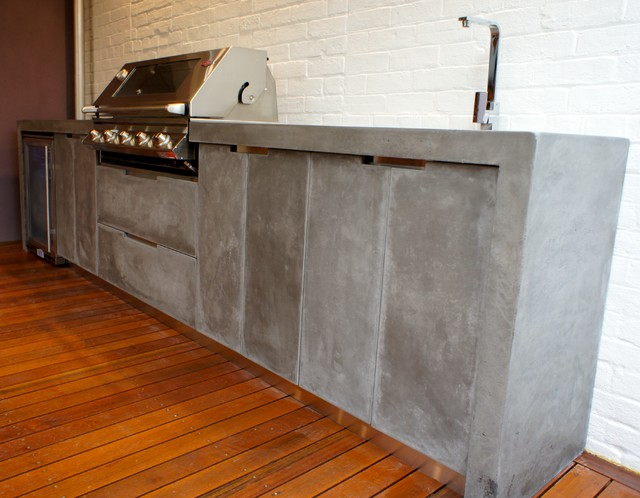 Outdoor Kitchen with Polished Concrete bench top, doors and ...