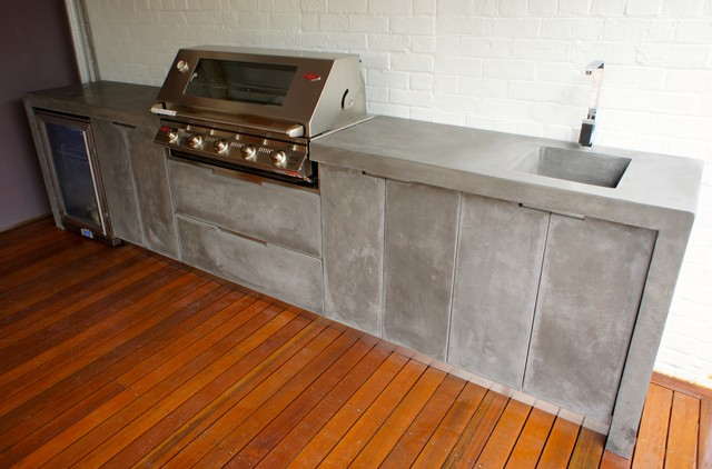 Outdoor Kitchen With Polished Concrete Bench Top, Doors And Drawer Fronts