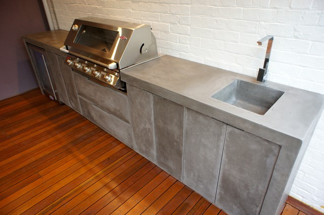 Outdoor Kitchen With Polished Concrete Bench Top, Doors And Drawer Fronts  Industrial Patio