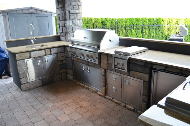 Outdoor Kitchen With Professional Solid Stainless Steel Built In Grills  Traditional Patio