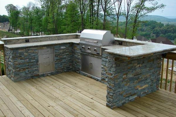 Outdoor Kitchen With Wood Deck Traditional Patio Dc