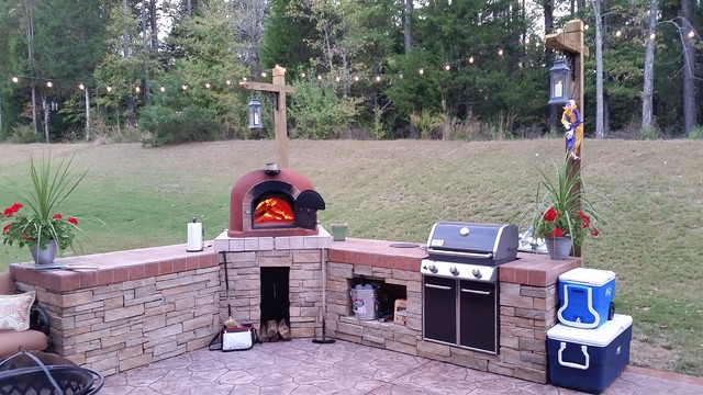 Outdoor Kitchen With Wood Fired Pizza Oven Gas Grillrustic Patio New York