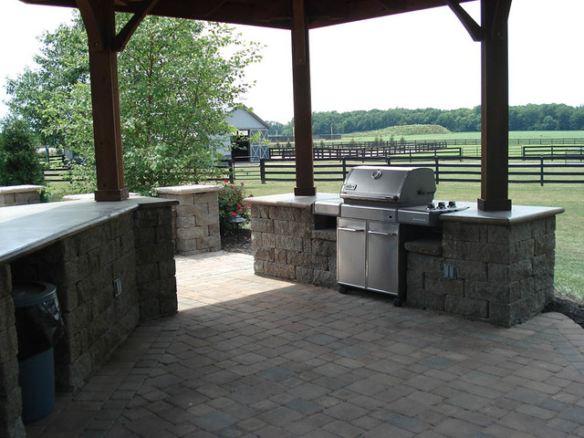 Outdoor kitchens and bbq surrounds traditional patio for Block outdoor kitchen