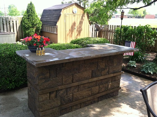 Outdoor kitchens and bbq surrounds traditional patio for How to build a wall bar