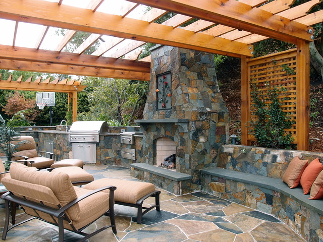 outdoor kitchens and fireplaces mediterranean patio