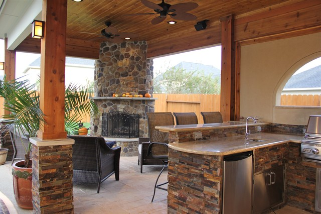 Outdoor Kitchens and Fireplaces - Contemporary - Patio - Houston ...